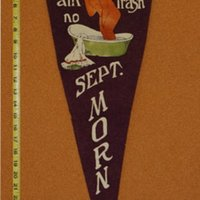 Purple September Morn Parody Pennant